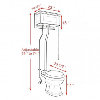 spec-<PRE>Light Oak High Tank Pull Chain Toilet With Round White Porcelain Bowl and Satin Z-Pipe</PRE>