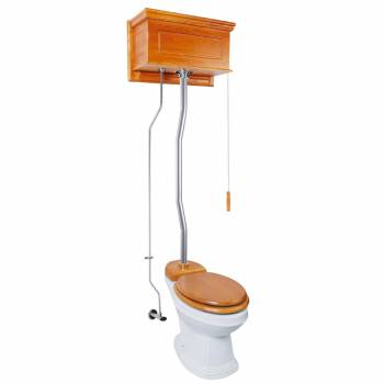 Light Oak Raised High Tank Pull Chain Toilet with Elongated Bowl & Satin Z-Pipe21795grid