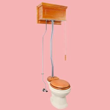 <PRE>Light Oak Raised High Tank Pull Chain Toilet with Bone Round Bowl & Satin Z-Pipe</PRE>zoom2
