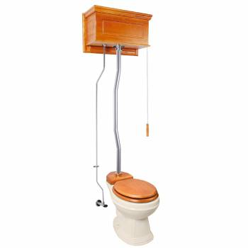 Light Oak Raised High Tank Pull Chain Toilet with Bone Round Bowl & Satin Z-Pipe21796grid