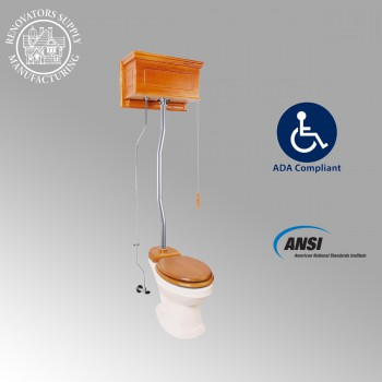 <PRE>Light Oak High Tank Pull Chain Toilet with Biscuit Elongated Bowl & Satin Z Pipe</PRE>zoom2
