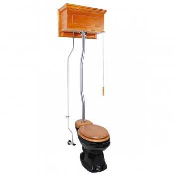 Light Oak High Tank Pull Chain Toilet with Elongated Black Bowl and Satin Z-Pipe21799grid
