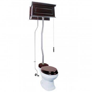 Dark Oak Raised High Tank Toilets With White Round Bowl and Satin Finish Z Pipe High Tank Pull Chain Toilets Round Bowl High Tank Toilet Old Fashioned Toilet