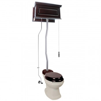 Dark Oak High Tank Pull Chain Toilet with Round & Biscuit Bowl and Satin Z Pipe21803grid