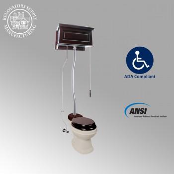 <PRE>Dark Oak Raised High Tank Toilets With Bone Elongated Bowl & Satin Finish Z Pipe</PRE>zoom2