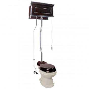 Dark Oak Raised High Tank Toilets With Bone Elongated Bowl & Satin Finish Z Pipe21804grid