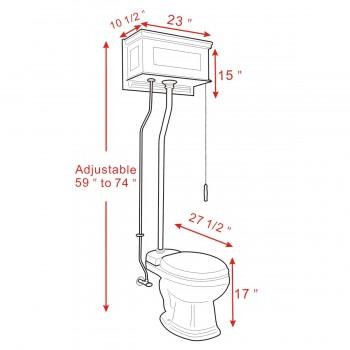 spec-<PRE>Dark Oak Raised High Tank Toilets With Bone Elongated Bowl & Satin Finish Z Pipe</PRE>