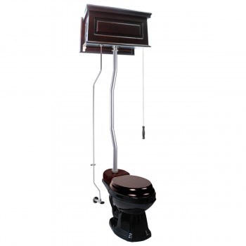 Dark Oak Raised High Tank Toilets With Black Round Bowl and Satin Finish Z Pipe21805grid