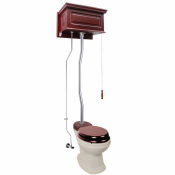 Cherry Wood Raised High Tank Pull Chain Toilet Bone Round Satin Top Entry21815grid