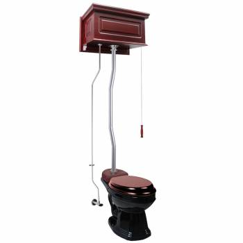 Cherry Wood Raised High Tank Pull Chain Toilet Black Elongated Satin Top Entry21818grid