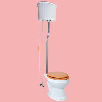<PRE>White Ceramic Tank High Tank Toilets With Round Bowl and Satin Finish L Pipe</PRE>zoom2