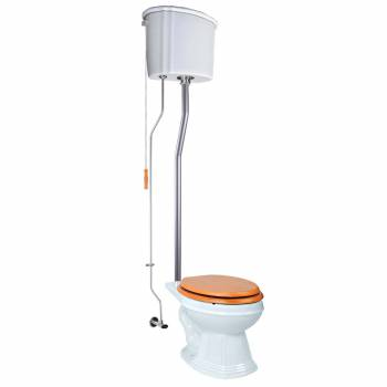White Ceramic Tank High Tank Toilets With Elongated Bowl and Satin Finish L Pipe21826grid