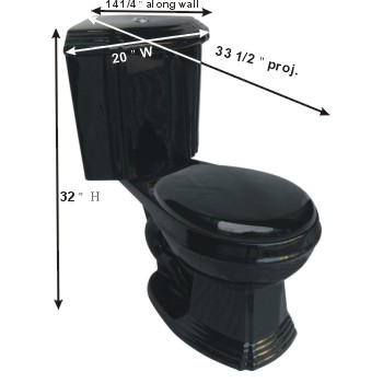 spec-<PRE>Black Ceramic Round Space Saving Corner Toilet </PRE>