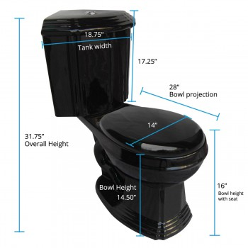 spec-<PRE>Renovator's Supply Black Ceramic Round Space Saving Corner Toilet</PRE>