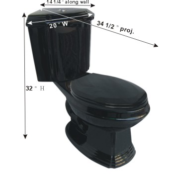 spec-<PRE>Black Ceramic Elongated Space Saving Corner Toilet </PRE>