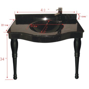 spec-<PRE>Absolute Black  Granite Console Sink</PRE>