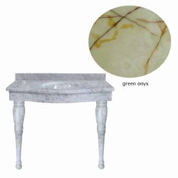Green Onyx Spindle Leg Console Sink21838grid