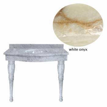 White Onyx Spindle Leg Console Sink21839grid