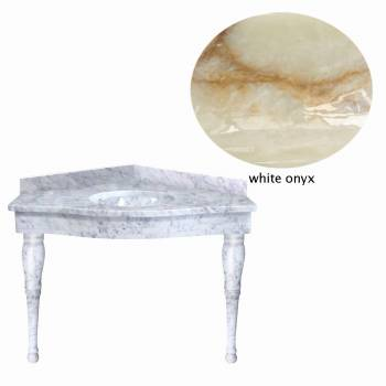 White Onyx Corner Spindle Leg Sink21842grid