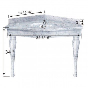 spec-<PRE>White Onyx Corner Spindle Leg Sink</PRE>