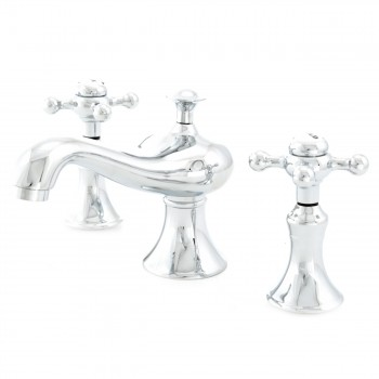 Vintage Widespread Faucet Chrome Classic Cross Handle