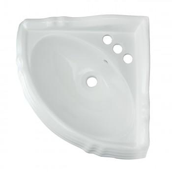 <PRE>Pedestal Corner Sink White China Sheffield Basin Only </PRE>zoom3