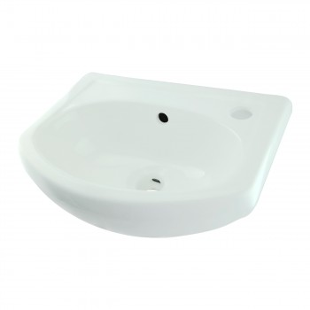 <PRE>White Small Bathroom Wall Mount Sink Rounded Space Saving </PRE>zoom6