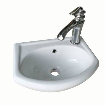 White Small Bathroom Wall Mount Sink Rounded Space Saving 21854grid