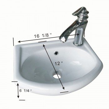 spec-<PRE>White Small Bathroom Wall Mount Sink Rounded Space Saving </PRE>