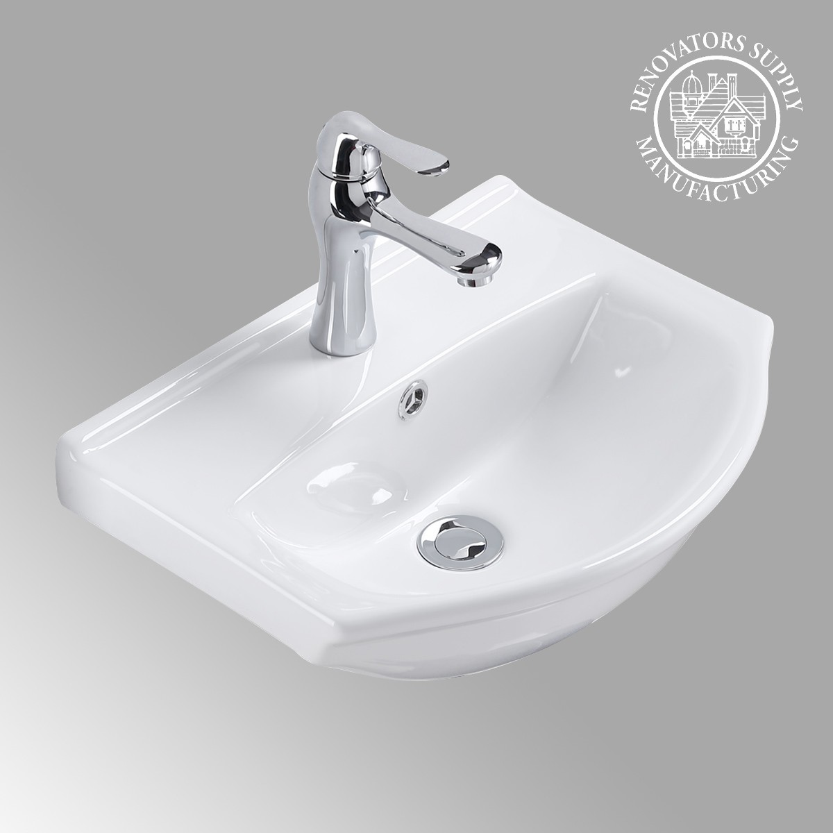Wall Mount Bathroom Sink White China Space Saving