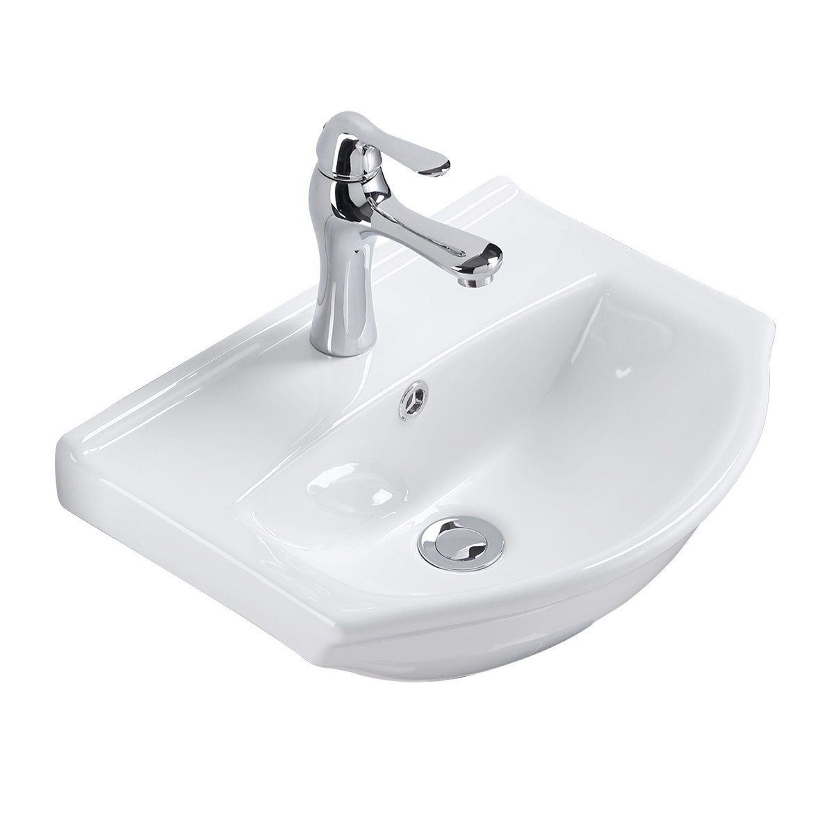 Small wall mount bathroom sink white china space saving for Tiny bathroom sink