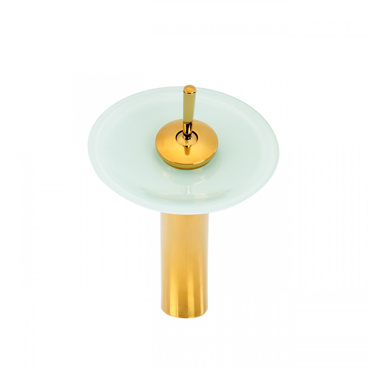 Cast Brass Gold PVD Waterfall Faucet Teal Green 12 H Glass plate Waterfall Sink Faucet Waterfall Bathroom Faucets Glass Disk Faucet