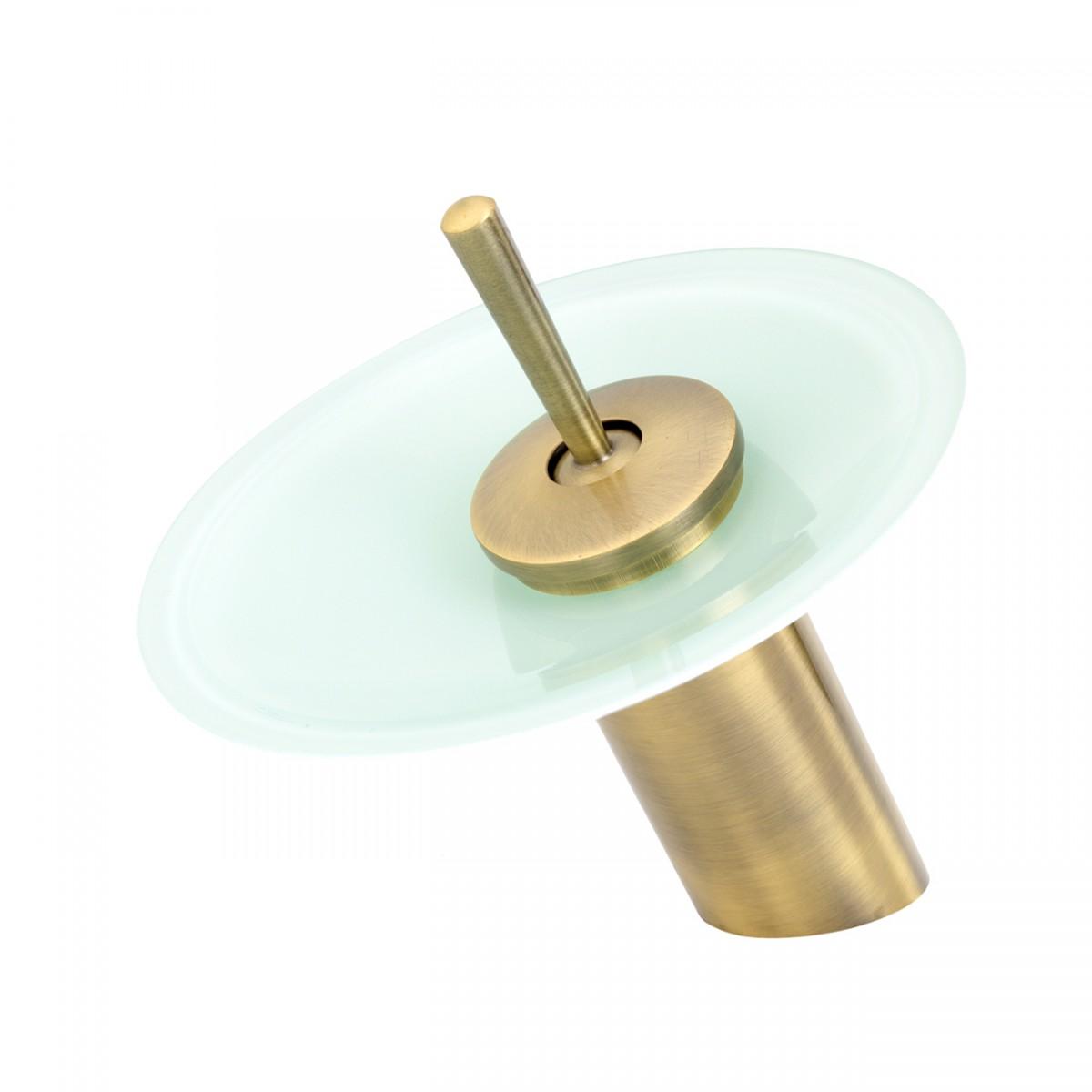 Cast Antique Brass Waterfall Faucet Teal Green 7\