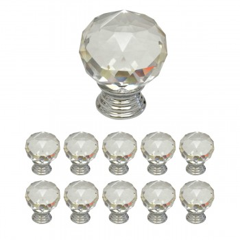 Clear Glass Cabinet Knobs Round 1.5 Inch Projection, 30mm dia. 10 pcs