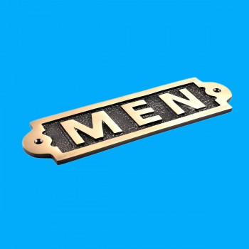 <PRE>Men Sign Polished Brass Plaque </PRE>zoom2
