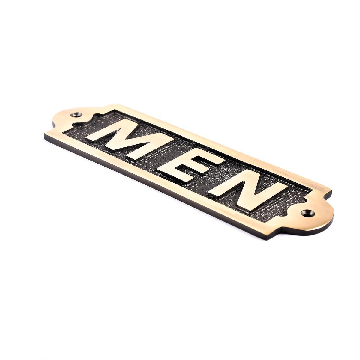 Men Sign Polished Brass Plaque Brass Sign Plate Brass Plaque Antique Brass Sign