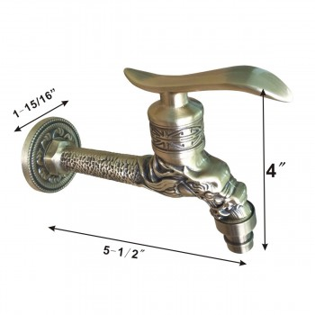 spec-<PRE>Outdoor Garden Faucet Antique Brass Spigot Spout Tap </PRE>