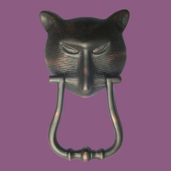 <PRE>Door Knocker Pharaoh Cat Head Cast Brass Oil Rubbed Bronze 8 3/8inch H </PRE>zoom2