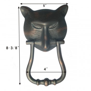 "spec-<PRE>Door Knocker Pharaoh Cat Head Cast Brass Oil Rubbed Bronze 8 3/8"" H </PRE>"