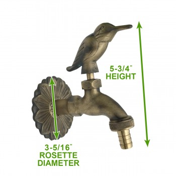 spec-<PRE>Outdoor Faucet Bird Spigot Solid Brass Antique Finish Garden Tap Hose Not Incl</PRE>