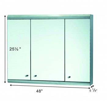spec-<PRE>48&quot; Medicine Cabinet Three Door Polished Stainless Steel </PRE>