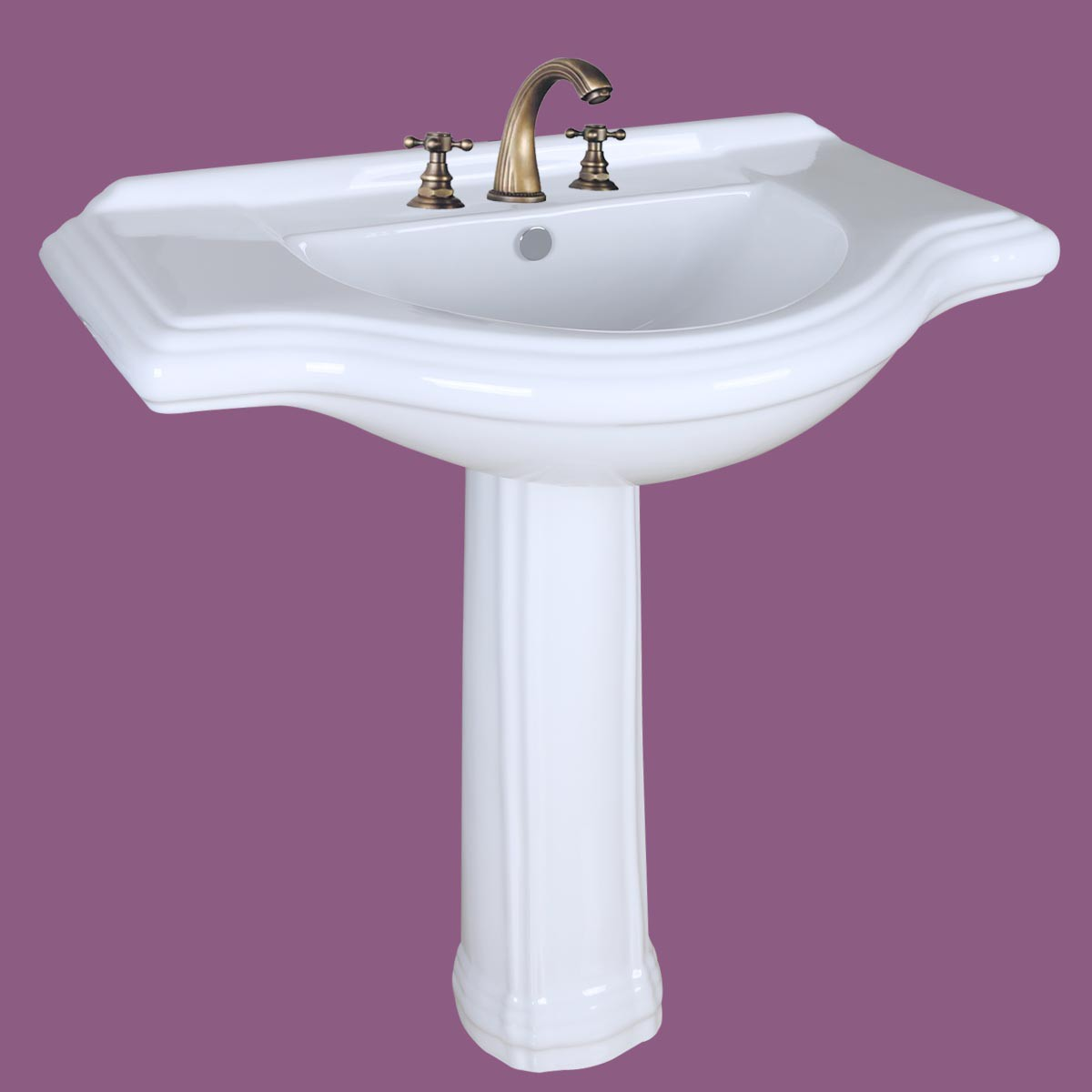 ... U003cPREu003eWhite Porcelain Large Bathroom Pedestal Sink 34 Inc Wide  Widespread Faucet Holesu003c ...