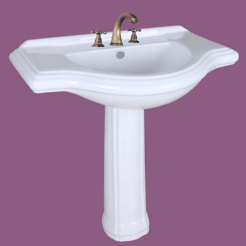<PRE>Large Bathroom Pedestal Sink White Porcelain 34in Wide Widespread Faucet Holes</PRE>