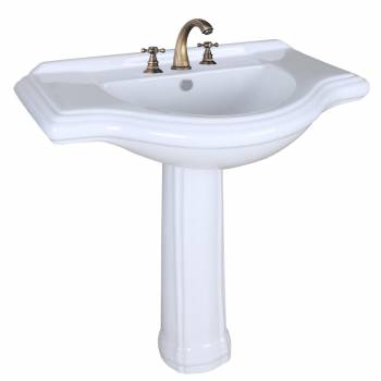 White Porcelain Large Bathroom Pedestal Sink 34 Inc Wide Widespread Faucet Holes21934grid