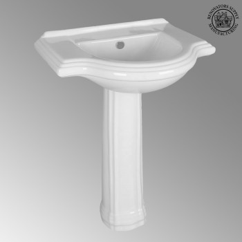 <PRE>Bathroom Pedestal Sink White China 26in Wide Counter Widespread Faucet Holes</PRE>zoom2
