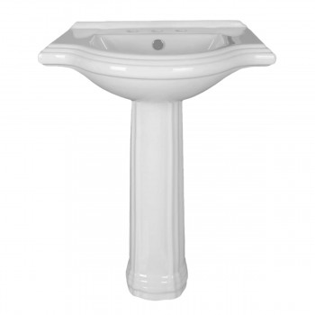 Bathroom Pedestal Sink White China 26in Wide Counter Widespread Faucet Holes porcelain ceramic traditional classic diy modern contemporary design chic sleek vintage antique americana 1920s