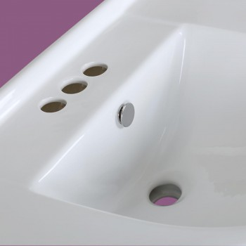 <PRE>1920s Pedestal Sink White China 4&quot; Centerset Faucet Boring Art Deco Wide Counter</PRE>