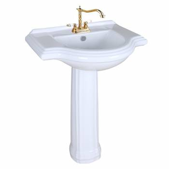 1920s Pedestal Sink White China 4 Centerset Faucet Boring Art Deco Wide Counter