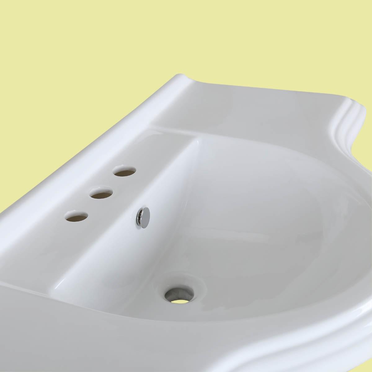 ... U003cPREu003eBathroom Pedestal Sink Vintage Design White China 8in Widespread  Faucet Holesu003c/ ...