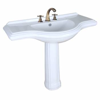 "<PRE>Deluxe Large Bathroom Pedestal Sink with Overflow and Widespread Faucet Hole Application Grade A Vitreous China with Raised Backsplash 41inch Wide 35 5/8"" Height 20 3/4"" Projection </PRE>"
